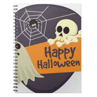 Happy Halloween Ghosts and Crossbones Notebooks