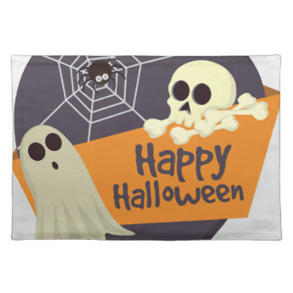 Happy Halloween Ghosts and Crossbones Placemat