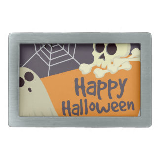 Happy Halloween Ghosts and Crossbones Rectangular Belt Buckles