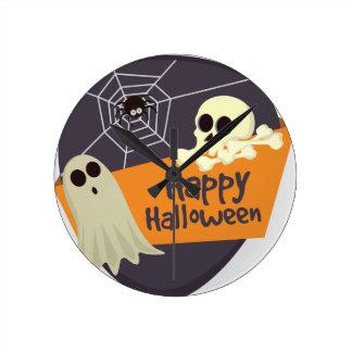 Happy Halloween Ghosts and Crossbones Round Clock