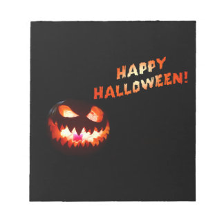 HAPPY HALLOWEEN - Glowing Jack-O-Lantern Notepad