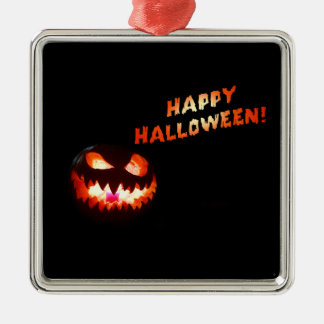 HAPPY HALLOWEEN - Glowing Jack-O-Lantern Silver-Colored Square Ornament