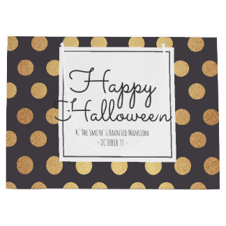 Happy Halloween. Gold Foil Polka Dots. Large Gift Bag