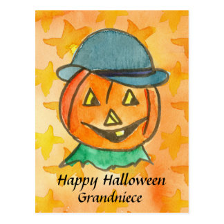 Happy Halloween Grandniece Jack-O-Lantern Custom Postcard