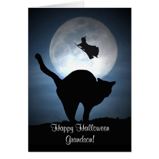 Happy Halloween Grandson Witch and Cat Card