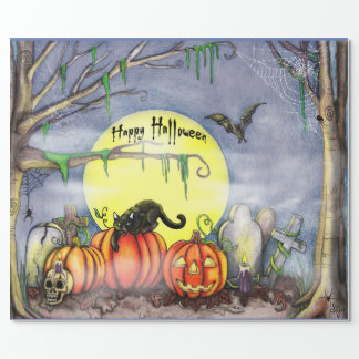Happy Halloween Graveyard Scene Wrapping Paper