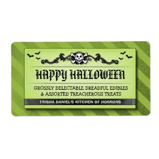 Happy Halloween Green & Black Custom Spooky Treat Shipping Label