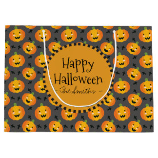 Happy Halloween. Happy Pumpkin Jack O' Lantern Large Gift Bag
