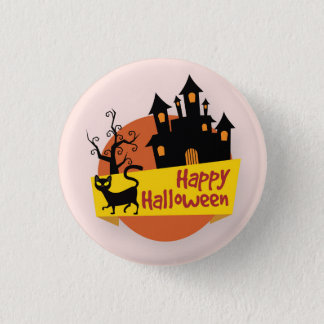 Happy Halloween Haunted House | Pin Button