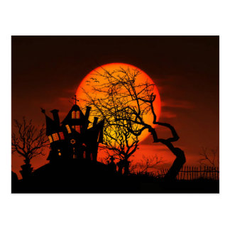 Happy Halloween Haunted House Postcard