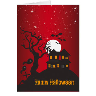 Happy Halloween Haunted House Red 2 Card