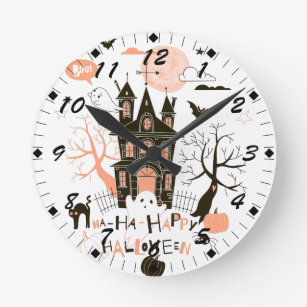 Happy Halloween Haunted House Round Clock
