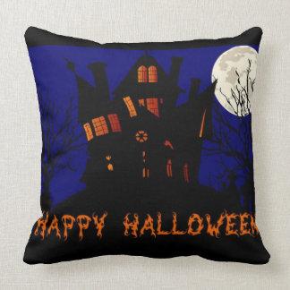 Happy Halloween Haunted House Throw Pillow