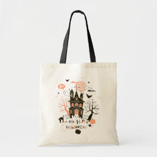 Happy Halloween Haunted House Tote Bag