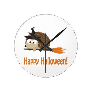Happy Halloween! Hedgehog Witch Wallclocks