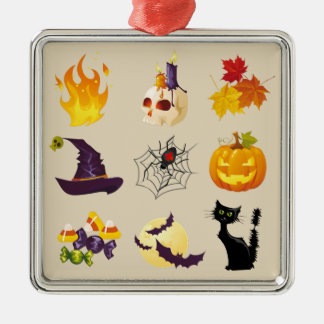 Happy Halloween Illustrations Metal Ornament