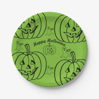 Happy Halloween - Jack 0 Lantern Ghost 7 Inch Paper Plate