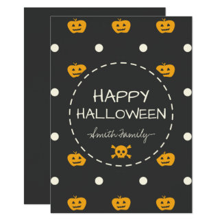Happy Halloween. Jack O Lantern White Polka Dots Card