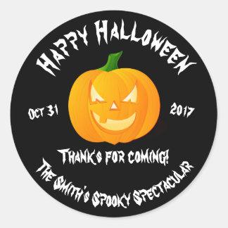 Happy Halloween Jack O'Lantern Party Favor Sticker