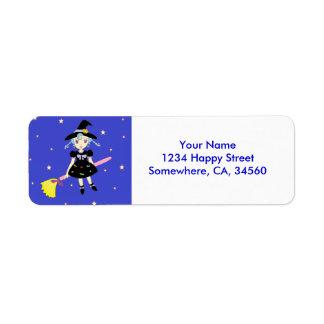Happy Halloween Little Witch Girl Return Address Label