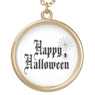 Happy Halloween minimalist typography Gold Plated Necklace