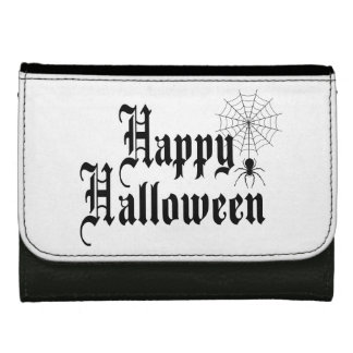 Happy Halloween minimalist typography Leather Wallet For Women