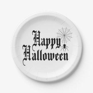 Happy Halloween minimalist typography Paper Plate
