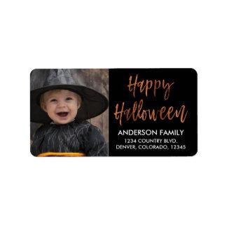 Happy Halloween Modern Halloween Photo Label
