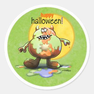 Happy Halloween Monster Round Sticker