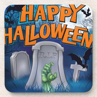 Happy Halloween Monster Zombie Cartoon Sign Coaster