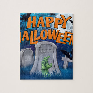 Happy Halloween Monster Zombie Cartoon Sign Jigsaw Puzzle