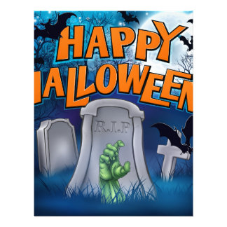 Happy Halloween Monster Zombie Cartoon Sign Letterhead