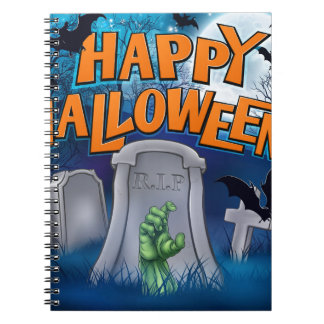 Happy Halloween Monster Zombie Cartoon Sign Notebooks