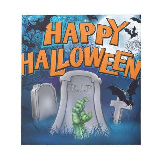 Happy Halloween Monster Zombie Cartoon Sign Notepad