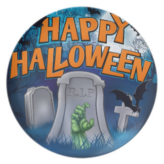 Happy Halloween Monster Zombie Cartoon Sign Plate