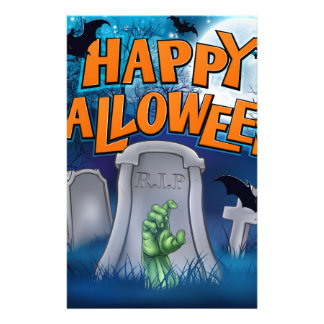 Happy Halloween Monster Zombie Cartoon Sign Stationery