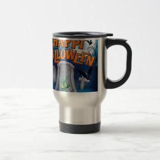 Happy Halloween Monster Zombie Cartoon Sign Travel Mug