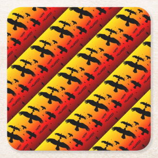 Happy Halloween Murder of Crows Square Paper Coaster