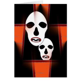 Happy Halloween o Dia de Las Brujas Black Orange Card