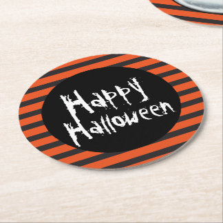 Happy Halloween Orange Black Striped Spooky Font Round Paper Coaster