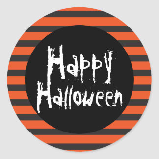 Happy Halloween Orange Black Striped Spooky Font Round Sticker