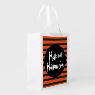 Happy Halloween Orange Black Striped Trick Treat Reusable Grocery Bag