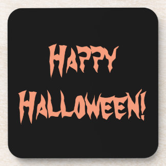 Happy Halloween Orange on Black Drink Coasters