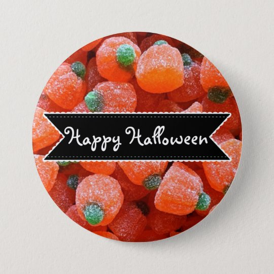 Happy Halloween Orange Pumpkin Candy Button