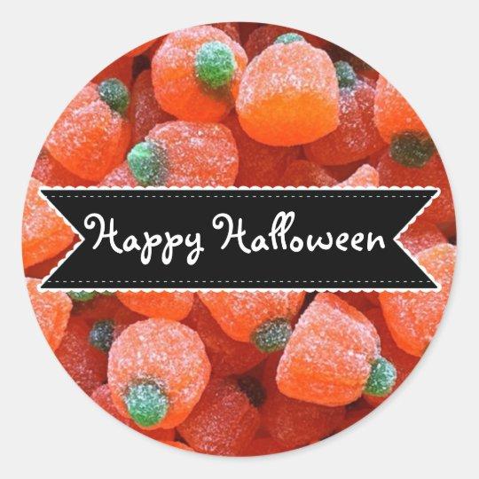Happy Halloween Orange Pumpkin Candy Stickers