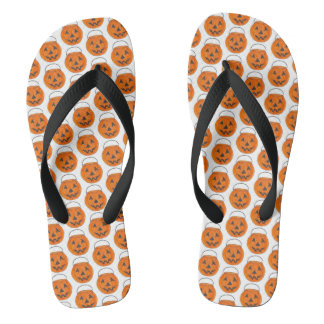 Happy Halloween Orange Pumpkin Jack o' Lantern Flip Flops
