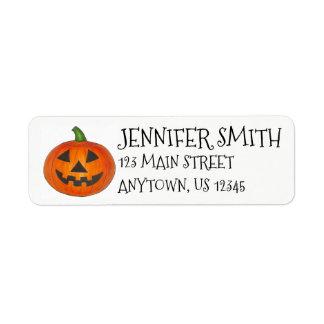 Happy Halloween Orange Pumpkin Jack o' Lantern Return Address Label