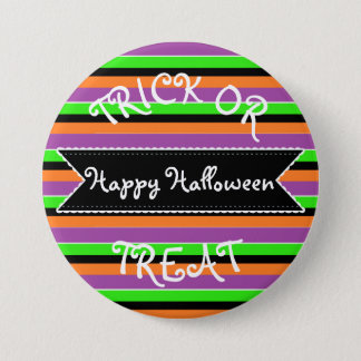 Happy Halloween Orange Purple Green Striped Button