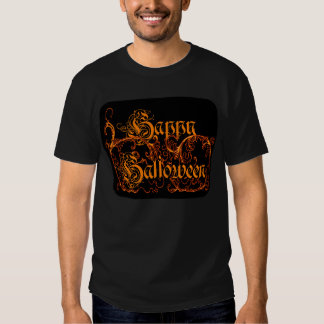 Happy Halloween Orange Scrolls T Shirts