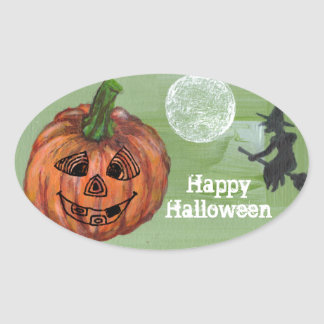 Happy Halloween oval sticker, sealer, label